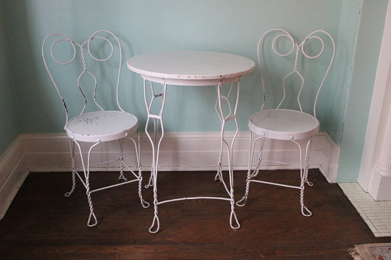 ice cream table and chairs chair cover rentals fredericton parlor visual hunt vintage by vintagechicfurniture