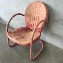 Antique Lawn Chairs Linen Desk Chair Vintage Metal Visual Hunt Retro Clam Shell 2 Urbanamericana