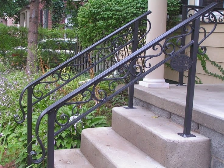 50 Outdoor Metal Stair Railing Kits You Ll Love In 2020 Visual Hunt | Decorative Handrails For Outdoor Steps | Exterior Black Metal | Foldable | Single Post | Farmhouse | Solid Wood
