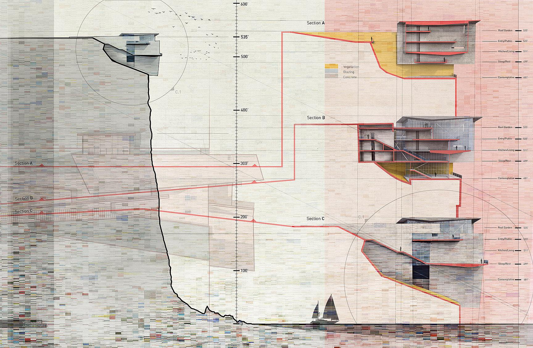 architecture section diagram photocell sensor circuit cliff retreat study visualizing