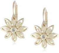10k Yellow Gold Flower Diamond Leverback Earrings