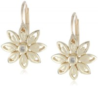 10k Yellow Gold Flower Diamond Leverback Earrings - Visuall.co