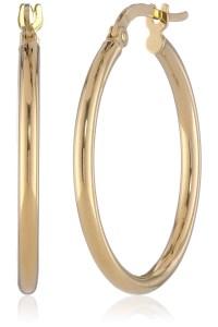 14k Yellow Gold Italian Hoop Earrings - Visuall.co