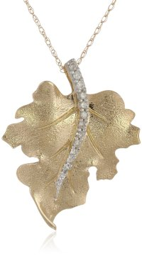 10k Yellow Gold Diamond Leaf Pendant - Visuall.co