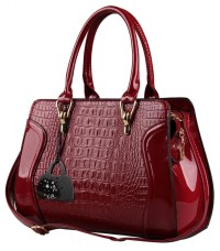 Hynes Eagle Patent Leather Crocodile Pattern Tote Bags Top ...