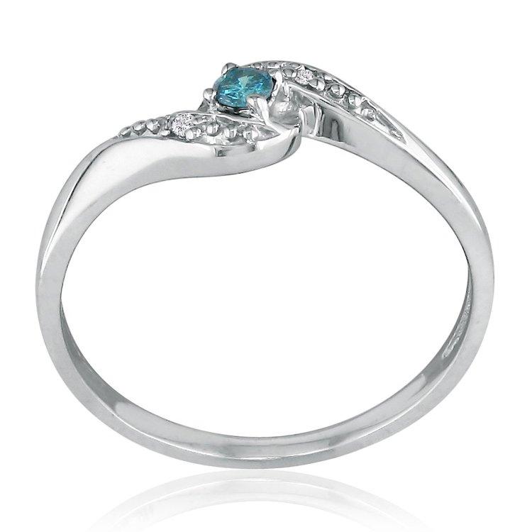 SuperJeweler 10K White Gold Blue Diamond Promise Ring