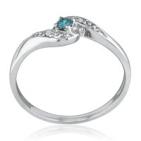 SuperJeweler 10K White Gold Blue Diamond Promise Ring