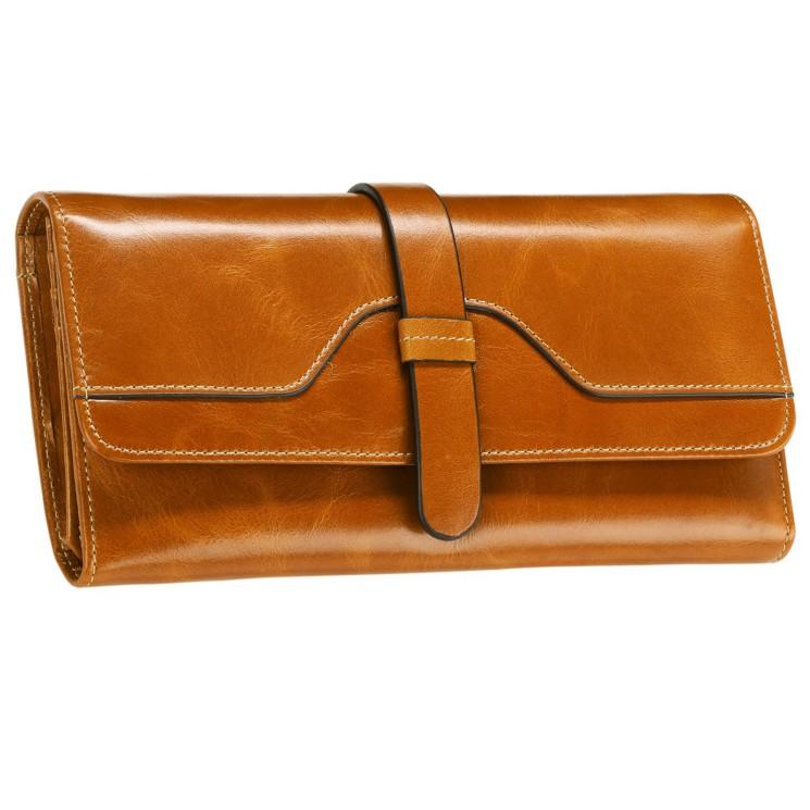 Itslife Womens RFID Blocking Luxury Leather Long Trifold