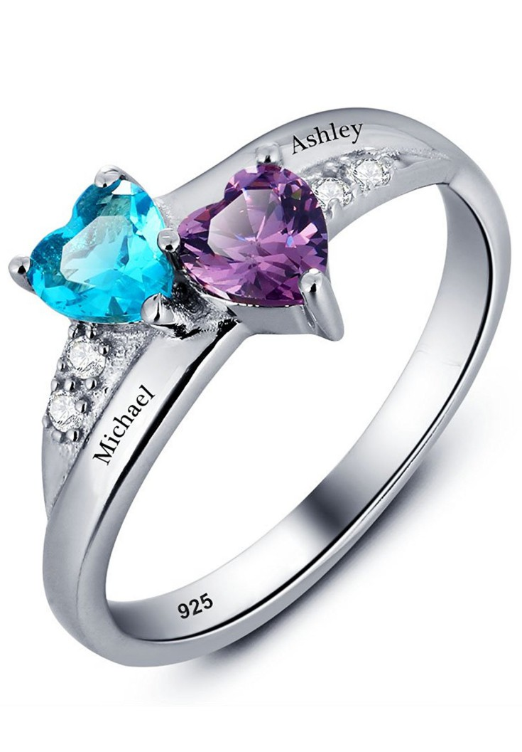 Promise Ring For Her Couples 2 Heart Birthstones 2 Names