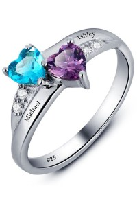 Promise Ring For Her Couples 2 Heart Birthstones 2 Names ...
