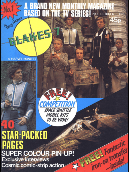 Blake's 7 Monthly cover - Issue 1, showing new logo, crew and ship