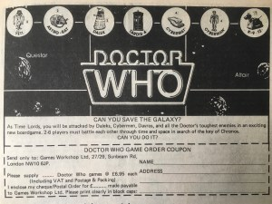 Doctor Who game advert with TARDIS and Daleks images across the top