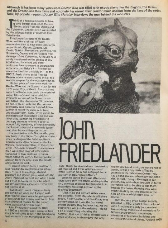 john friedlander interview with monster images including a sea devil