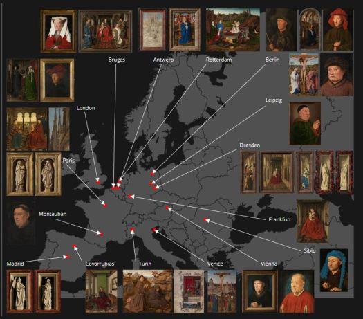 Screenshot from: Closer to van Eyck. Map of Europe with van Eyck paintings located.