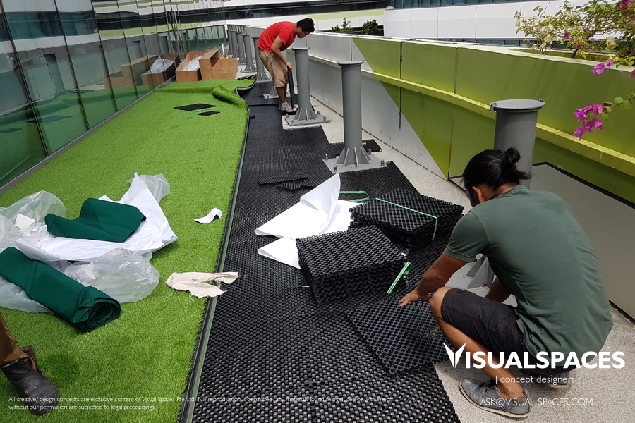 SUTD Outdoor Area Concept Design - Laying of Waterproof Synthetic Grass