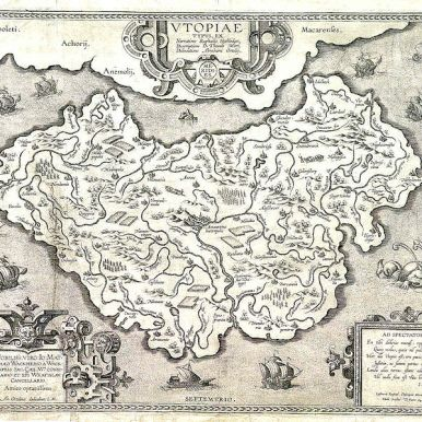 Abraham Ortelius' map of Utopia, from circa 1595