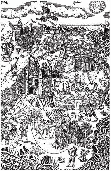 a cropped portion of an illustration of Bacon's New Atlantis. Source: http://www.santa-coloma.net/voynich_drebbel/utopias/utopias.html