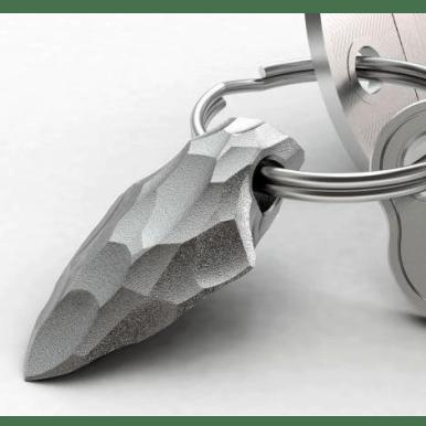 steel keyring, stone tool