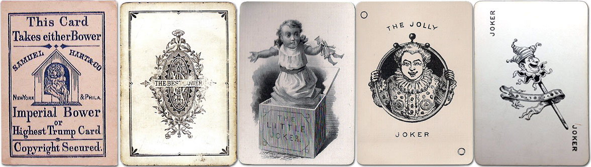 Early 'Bower' cards and Jokers from the 1870s-1880s.