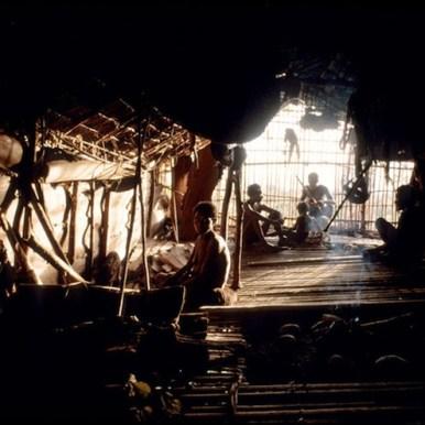 The inside of a Kombai tree house.