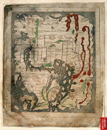 """Cotton MS. Tiberius B.V. fol. 58v (10th century), British Library Manuscript Collection, has """"hic abundant leones"""" (""""here lions abound""""), along with a picture of a lion"""