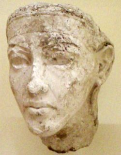 Plaster portrait discovered in the workshop of the royal sculptor Thutmose at Amarna