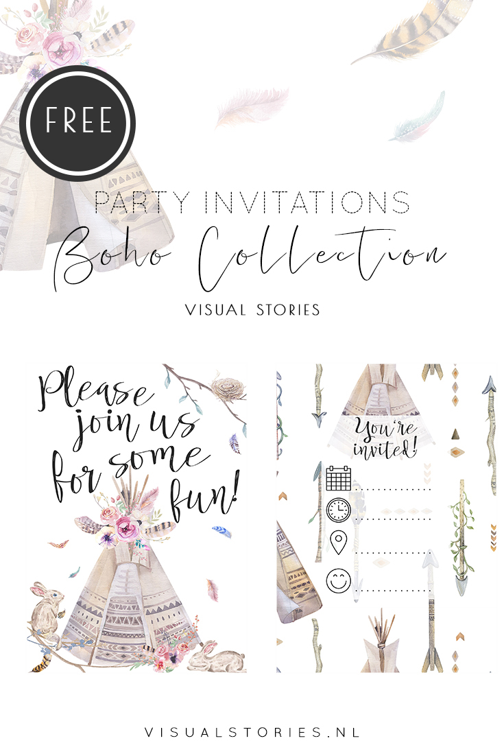 BoHo Tribal Hand Painted Watercolour Invitation Free Printables