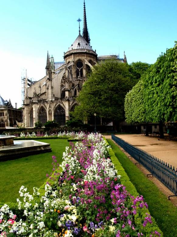 Photo of hidden spring gardens behind Notre Dame Cathedral, Paris | Marsha J Black