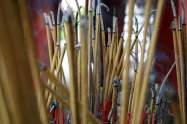 Burning incense sticks in a pagoda