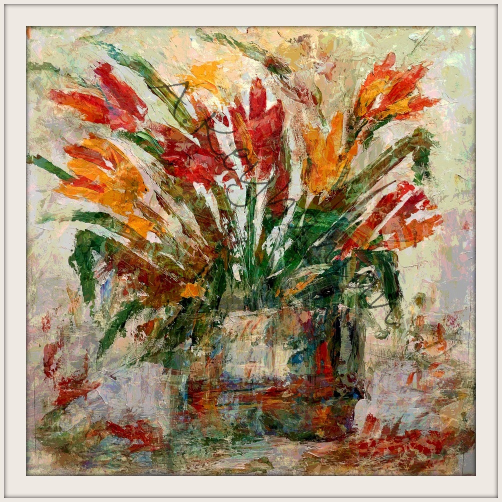 Blumen Stilleben Öl auf Pappe Druck auf Lithopapier, 50 x 50 cm