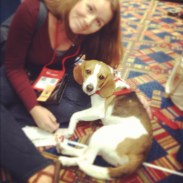 Jen with Juno, a beagle rescued from a research lab.
