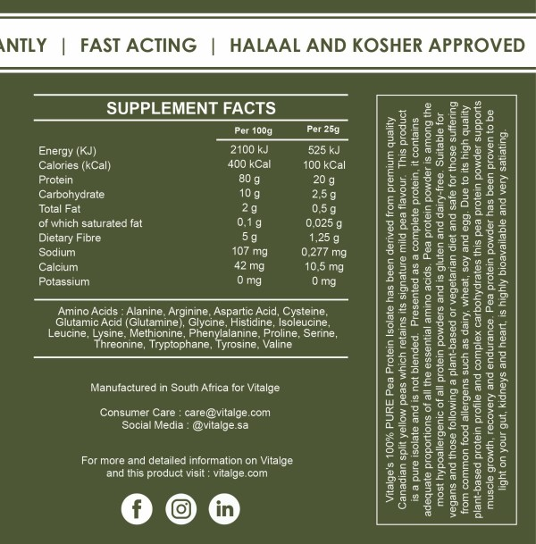 Pea Protein Isolate Label Supplement Facts