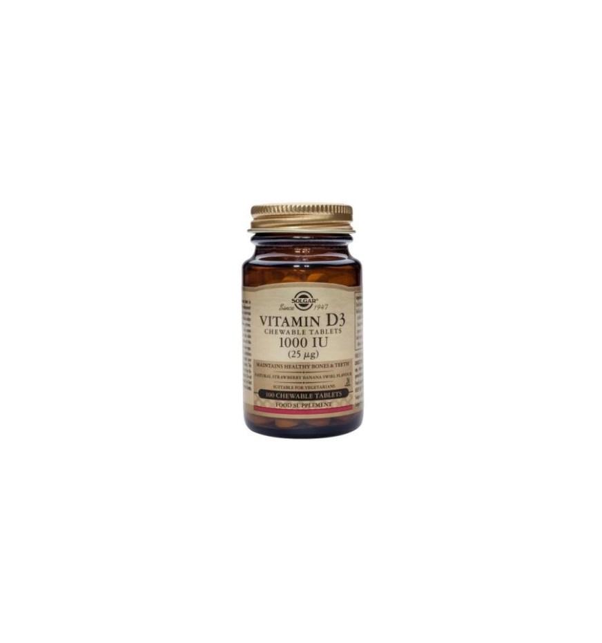 Vitamin D3 1000iu (25µg) - 100 Chewable Tablets - Solgar ...