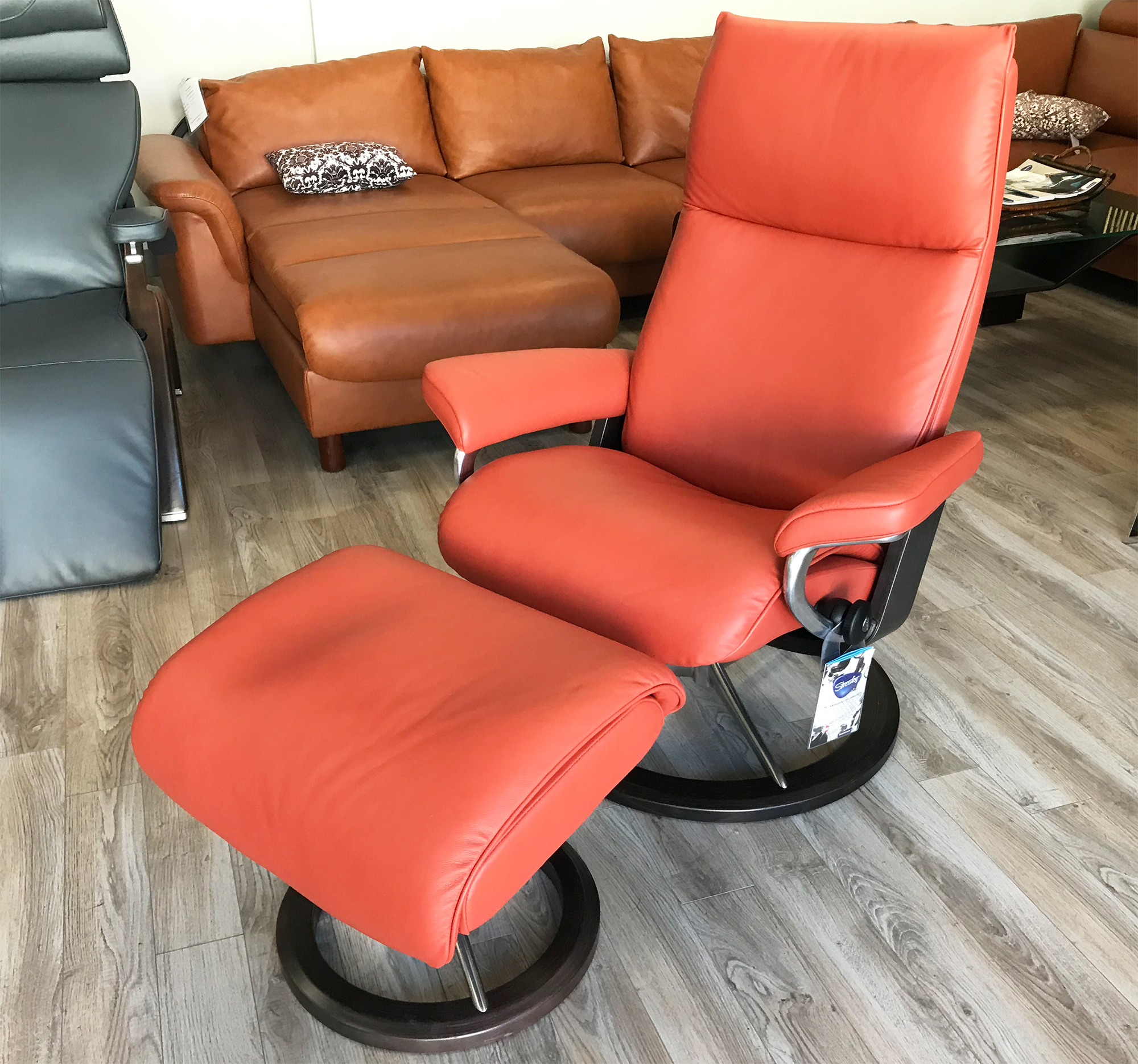 Leather Chairs With Ottoman Stressless Aura Recliner Chair And Ottoman In Paloma Henna Leather By Ekornes