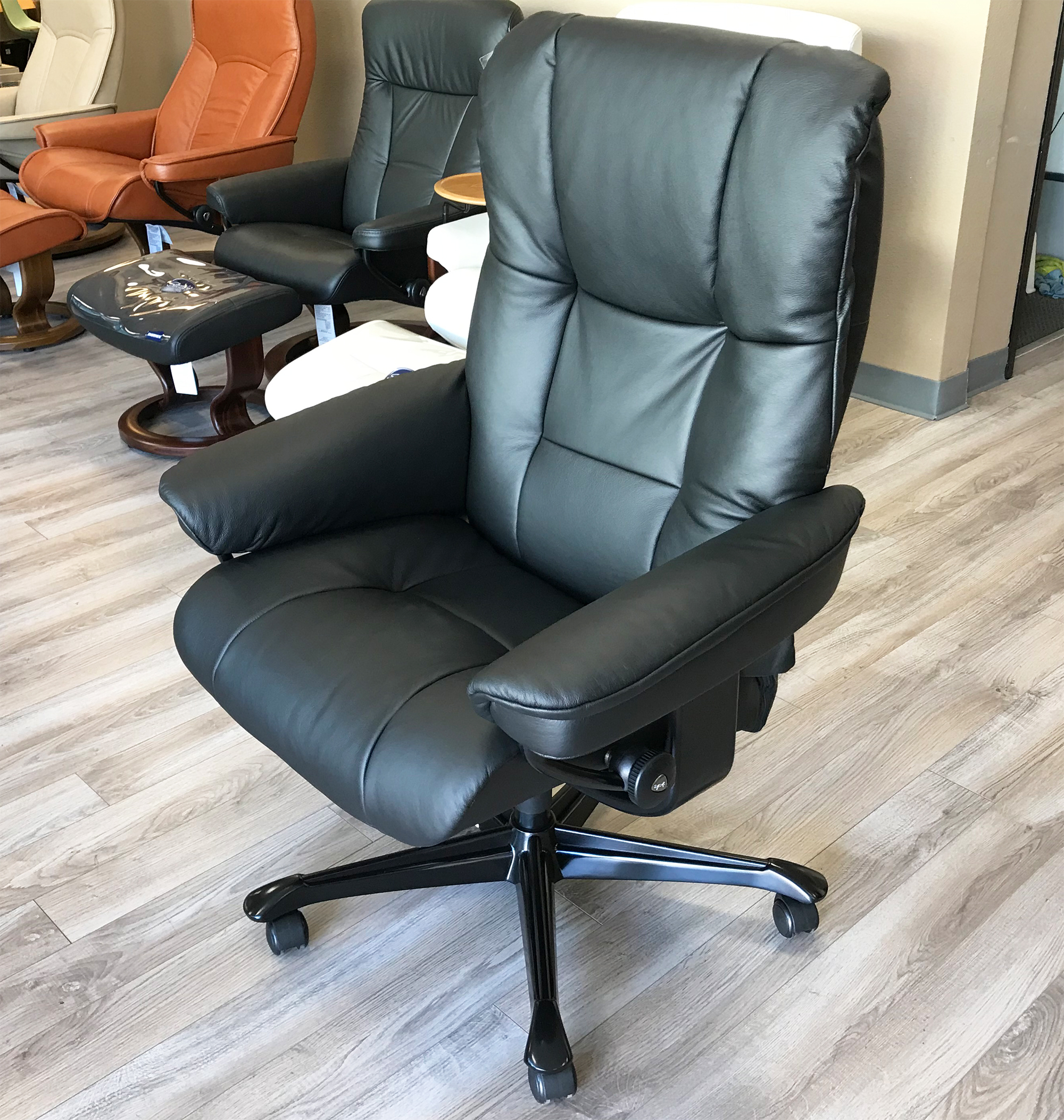 Stressless Office Chair Stressless Mayfair Office Desk Chair Paloma Black Leather