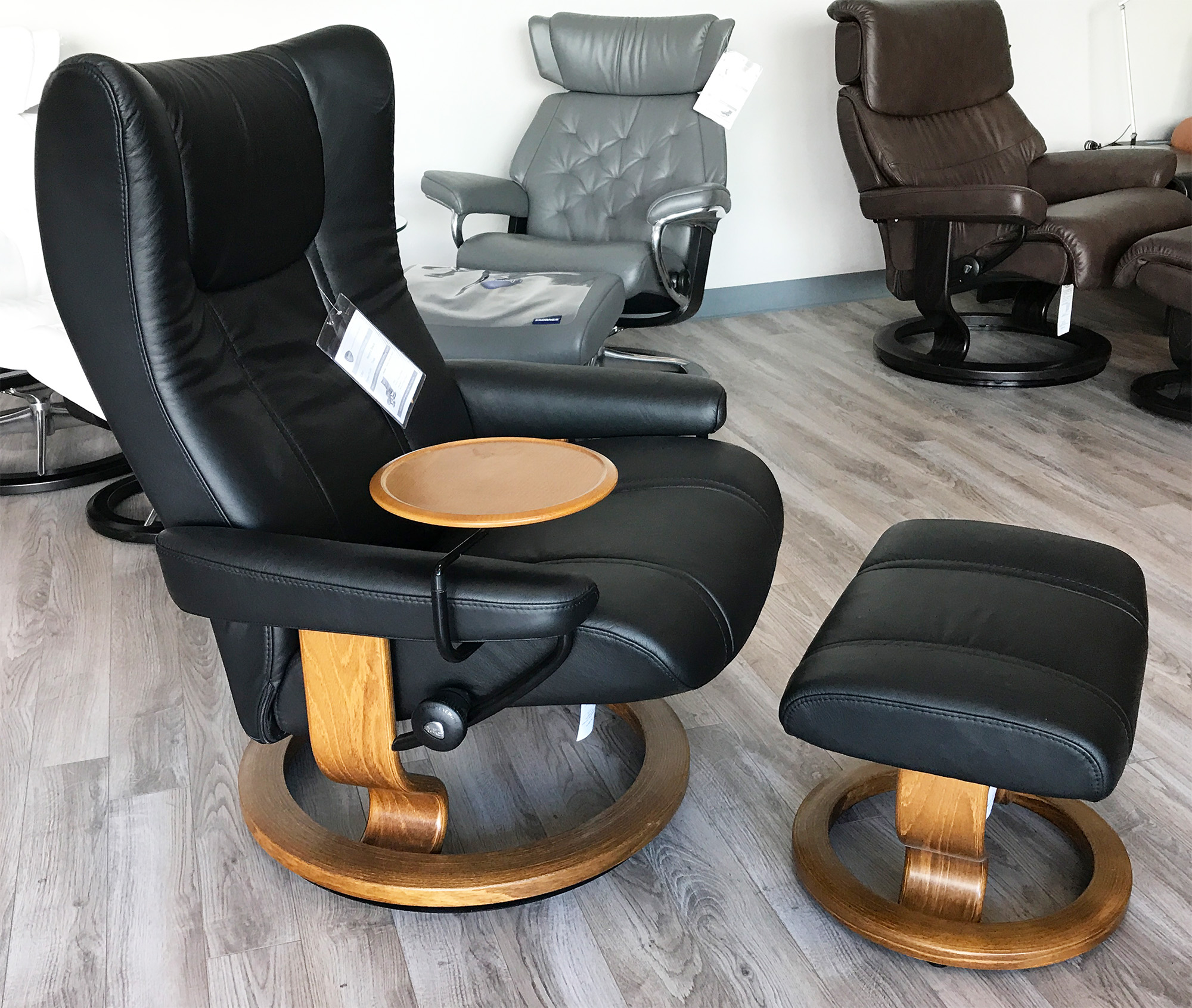 Ekornes Chairs Stressless Wing Paloma Black Leather Recliner Chair And