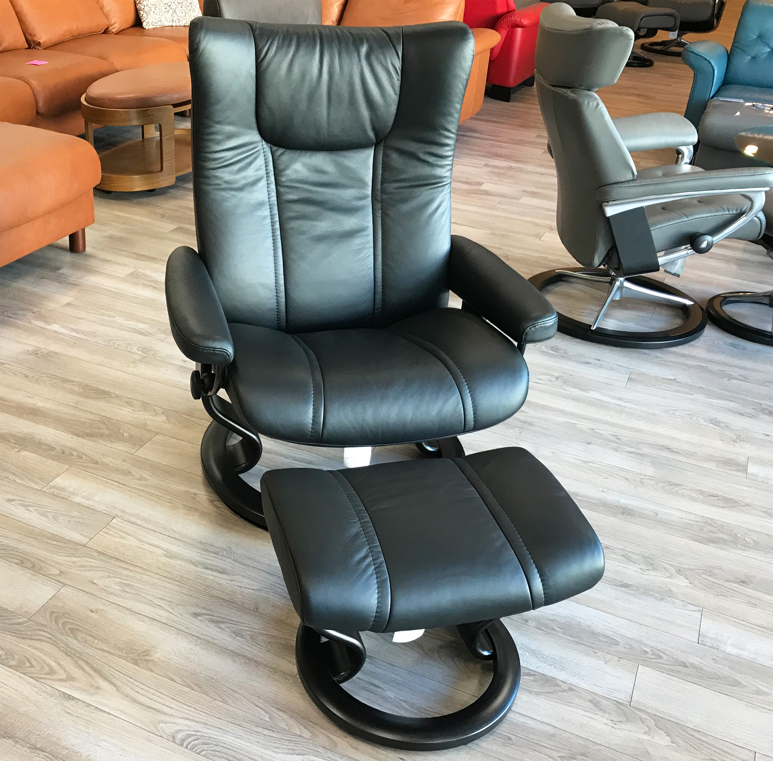 wing chair recliner leather eastlake rocking stressless paloma black and