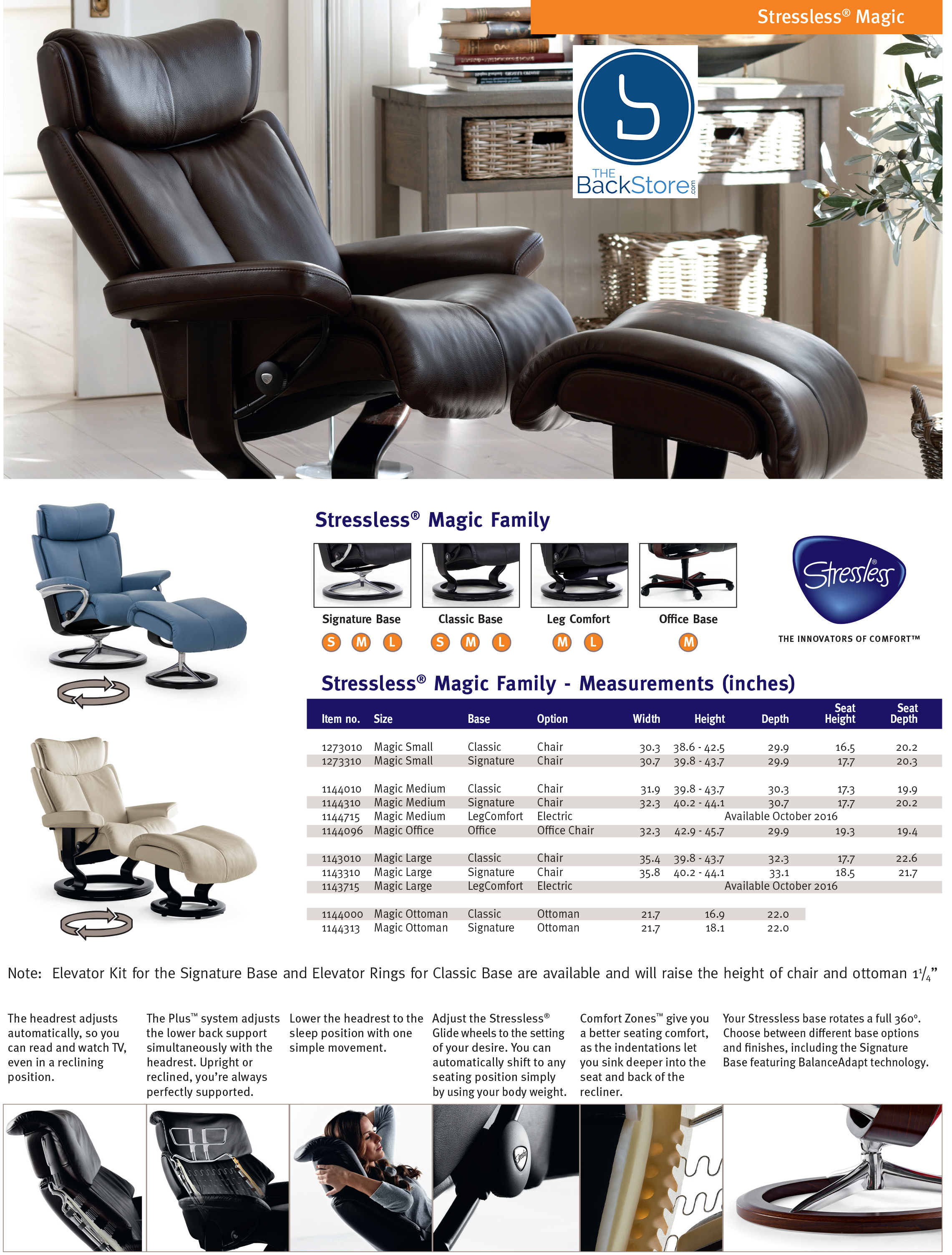 office chair ottoman acapulco patio stressless magic paloma chocolate leather desk by recliner dimensions ekornes