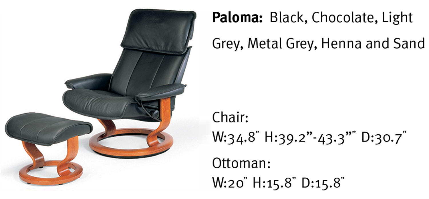 reclining chair with ottoman leather brown modern stressless admiral paloma recliner and by ekornes classic large base black
