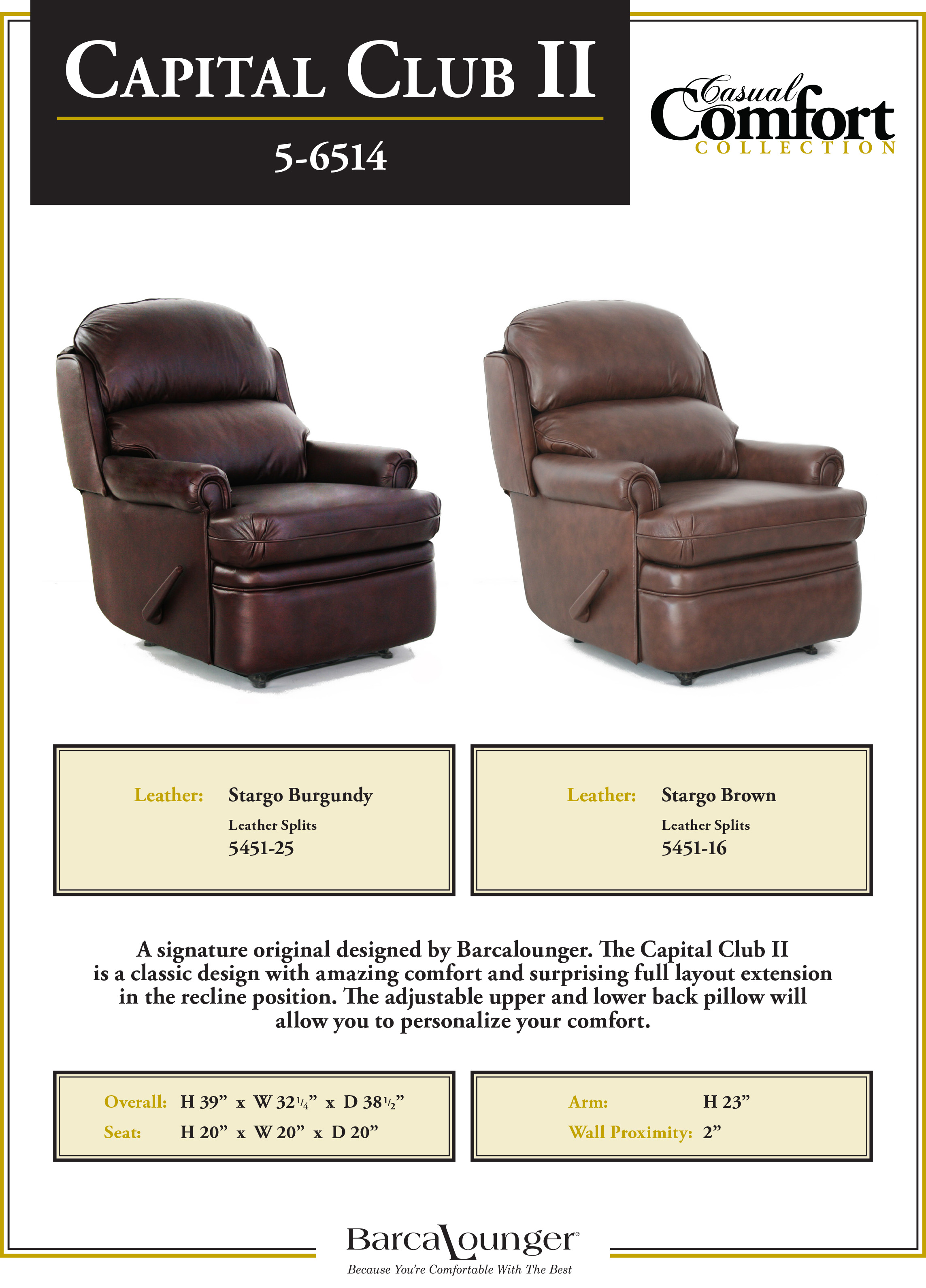 wall hugger recliner chair folding with arms barcalounger capital club ii leather dimensions