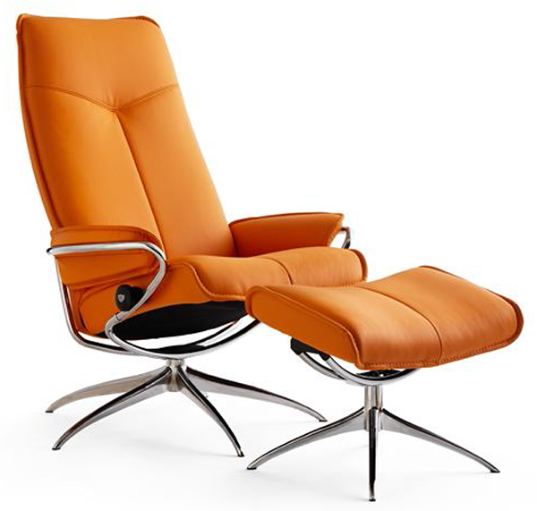 Ekornes Stressless City High Back Leather Recliner And Ottoman Metro Chair Lounger Ekornes