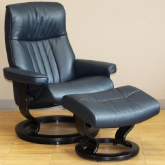 Blue Leather Office Chair Workbench With Wheels Stressless Crown Cori Recliner