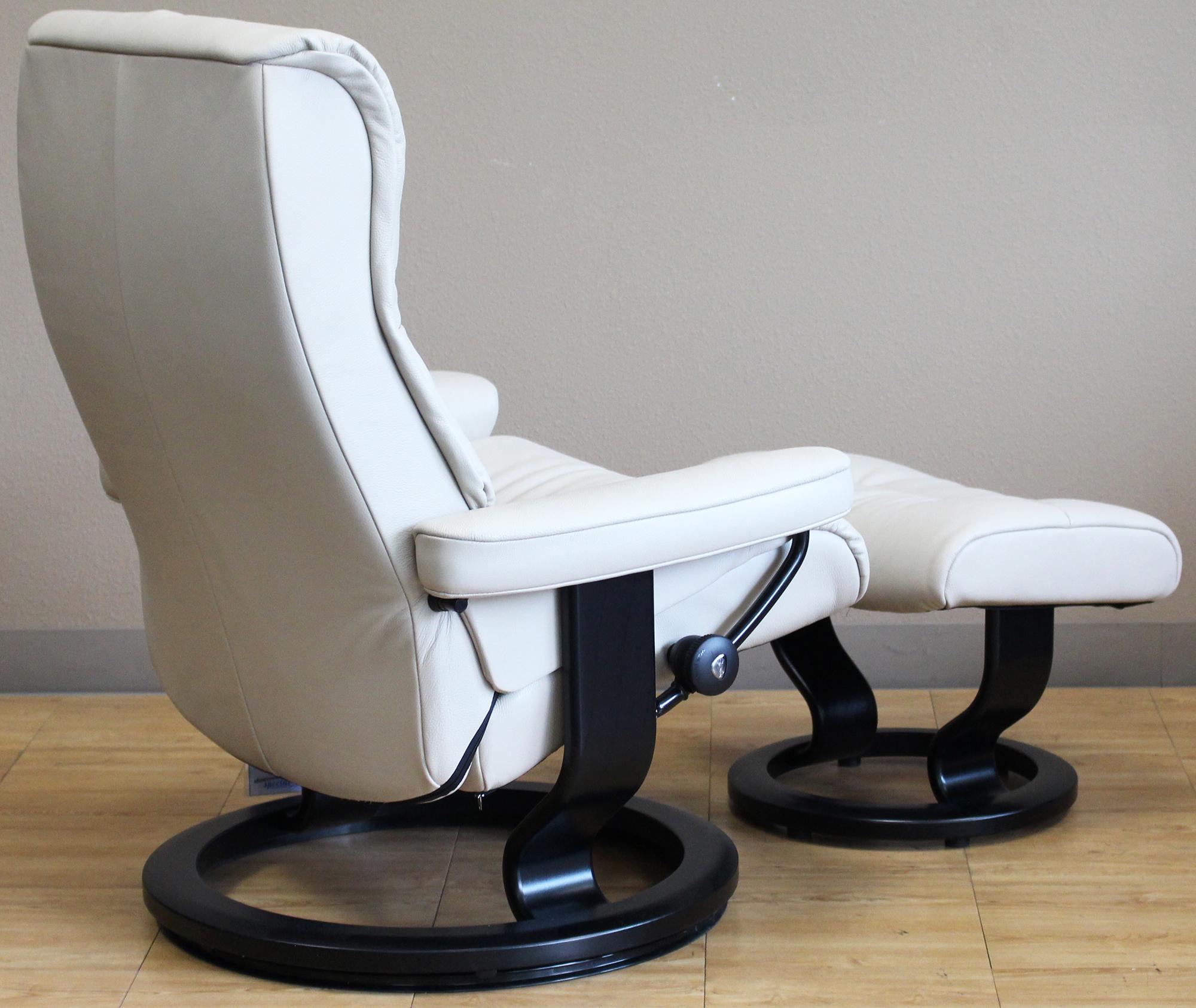 ekornes chair accessories foldable floor india stressless crown cori vanilla white leather recliner