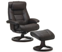 Fjords Mustang Ergonomic Leather Recliner Chair + Ottoman ...