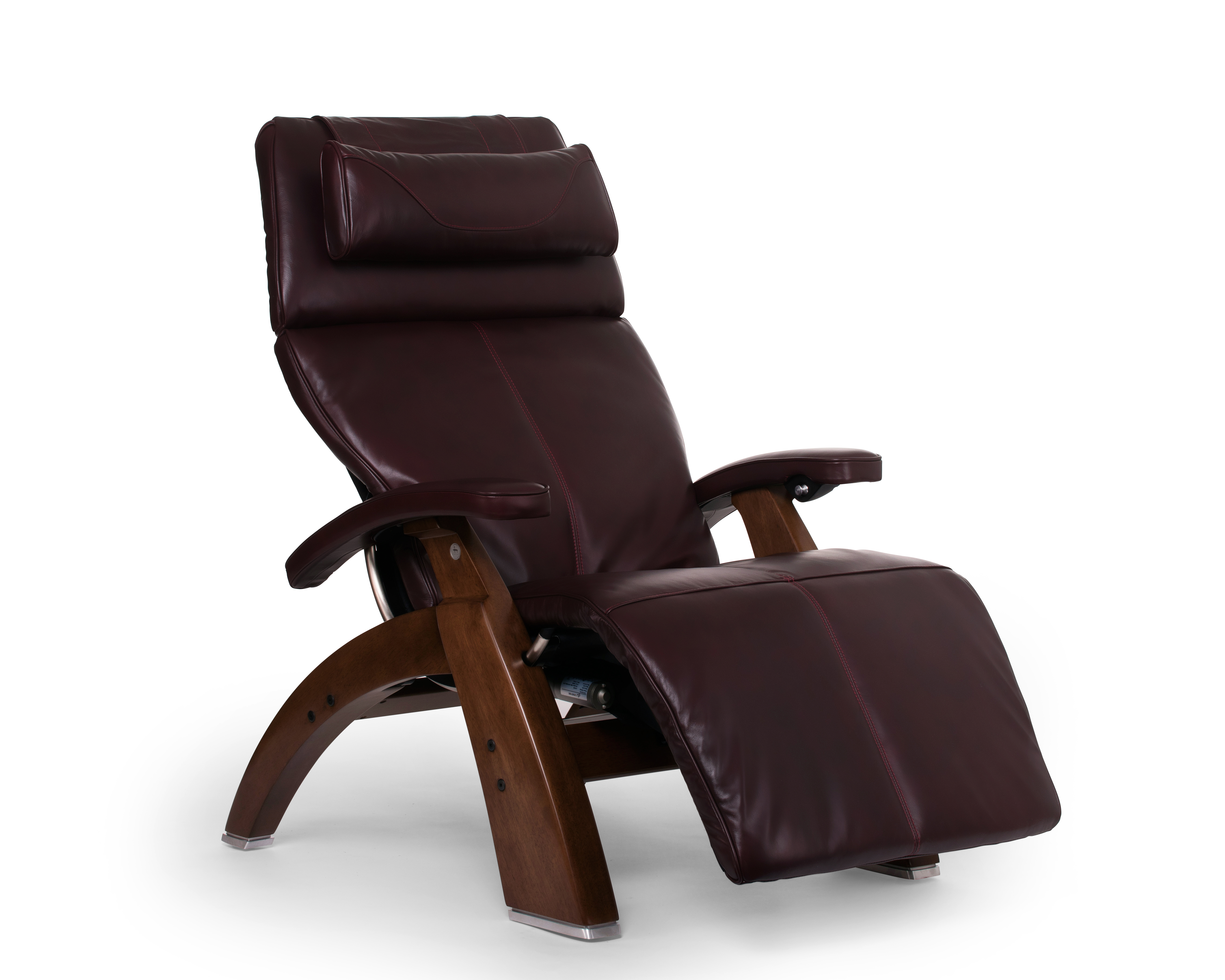 The Perfect Chair Burgundy Premium Leather Walnut Wood Base Series 2 Classic