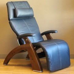 Human Touch Chairs Home Office Desk Chair Without Wheels Navy Blue Top Grain Leather With A Walnut Wood Base Series 2 Classic Pc 510 Power Electric Perfect Recliner In