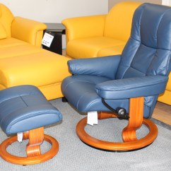 Reclining Chair With Ottoman Leather Vending Massage Stressless Kensington Large Mayfair Paloma Oxford Blue