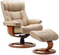 Fjords Manjana Ergonomic Leather Recliner Chair + Ottoman ...