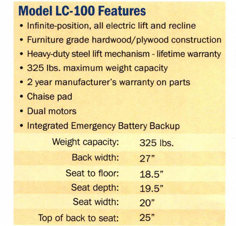 mega motion lift chair customer service pool spectator easy comfort lc 100 infinite position recliner