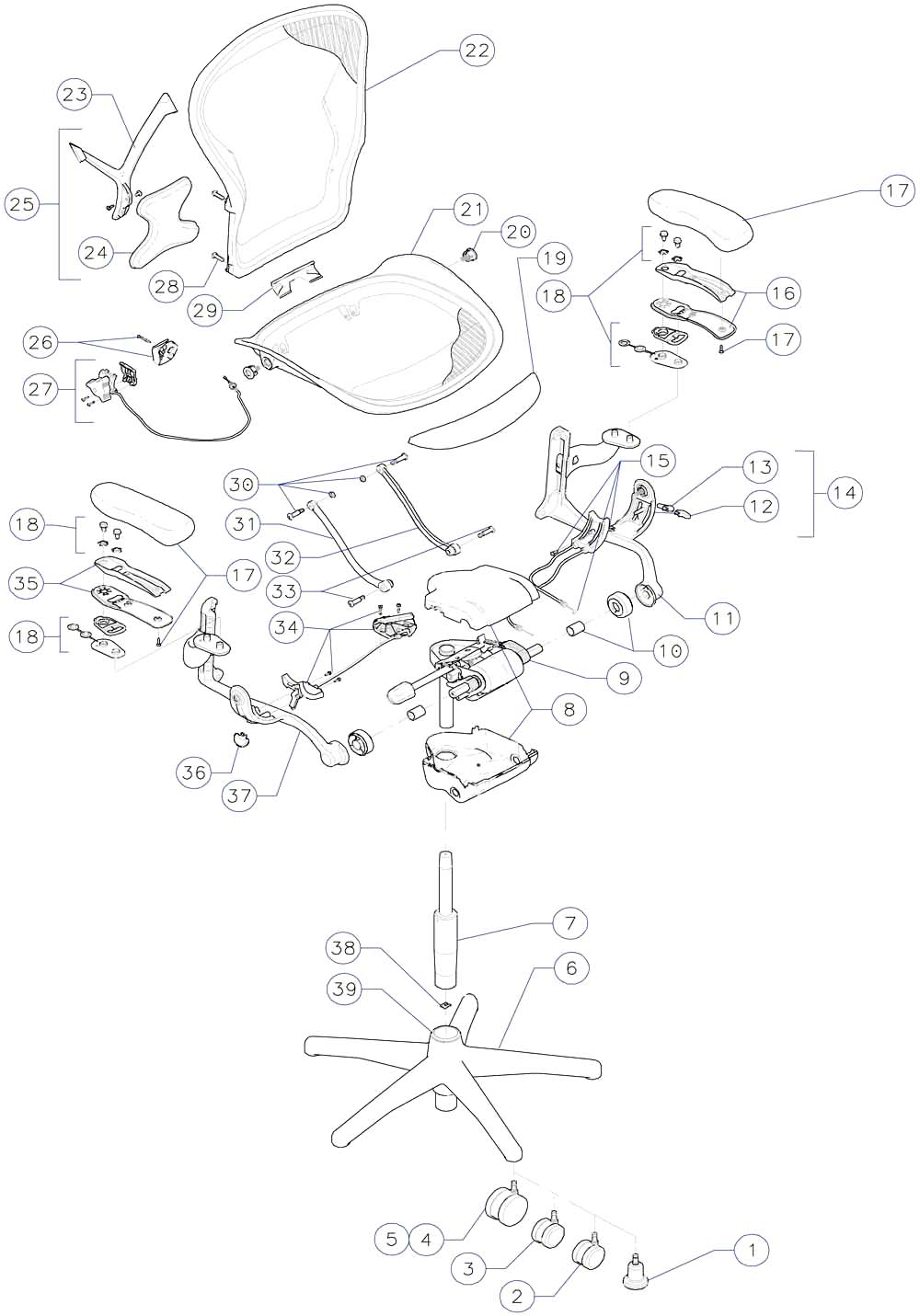 Steelcase Chair Parts Aeron Chair Parts Diagram Auto Today